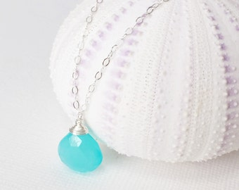 Aqua chalcedony charm necklace - Gemstone necklace - Bridesmaid gift - Blue necklace. (N111)