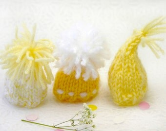 Yellow Miniature Knitted Hats- Hand Knit- 3 Mini Caps- Shades of Yellow- Dolls, Small Pet