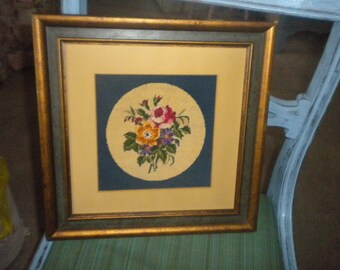 Lovely Framed Petit point Poses, Shabby Chic, French Country, Eclectic Wall