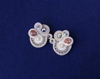 soutache earrings, wedding earrings, crystals earrings, earstud earrings, shiny earrings, earrings for bride, gift for woman, small earrings