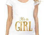 NEW Gold Foil It's a Girl or It's a Boy 100% Cotton White Maternity T Shirt