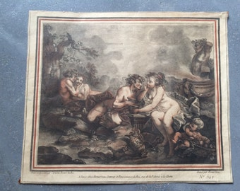 XVIIIe century. French original engraving.Demarteau