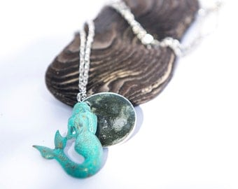 Boho Jewelry, Turquoise, Mermaid, Summer Necklace, Silver Gift for Her