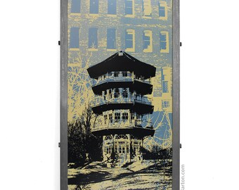 Patterson Park Pagoda Framed Silkscreen Print, Baltimore, MD