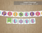 Baby Sprinkle Banner - Instant Download - Sprinkled with Love - Bunting Sash Sign