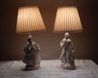 Vintage Minuet Figural Statue Lamps With  Pleated Shades