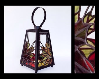 Autumn Leaves - Stained Glass Lantern