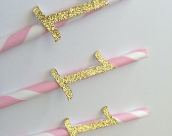 Gold Glitter Number on Pink Paper Straws.1st Birthday, Birthday Cupcake Topper, Pink & Gold Party. Letter Initial.  20CT