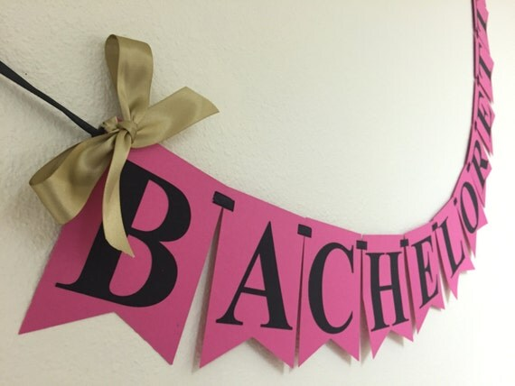 Hot Pink And Black Bachelorette Party Banner Gold Luxurious