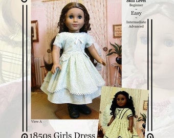 "PDF Pattern KDD01 ""1850s Girl's Dress""- An Original KeepersDollyDuds Design,18"" Doll Clothes Fits American Girl"
