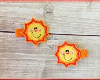 Sun hair clip Sunshine Felt Hair Clippies Bright You are my sunshine. Pick one or two. Pick Left side or Right.