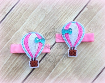 Hot Air Balloon Hair Clip Glitter Vinyl Embroidered Felt Hair Clippies with tiny rhinestone Bows. Pick one or two. Pick Left side or Right.