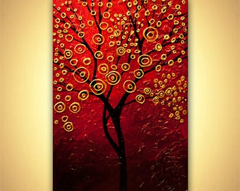 ORIGINAL Abstract Contemporary Blooming Gold Red Tree Acrylic Painting Heavy Palette Knife Texture by Osnat