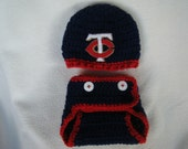Crocheted Twins Inspired Baseball Beanie/Hat and Diaper Cover - MADE TO ORDER - Handmade by Me