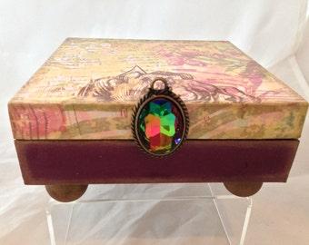Vintage Plumb Floral Decorative Box