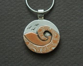 Mixed metal jewelry, mokume beach jewelry,  silver and copper mixed metal pendant