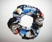 United States Navy Fabric Hair Scrunchies blue camo military USN armed forces naval troops America USA, womans accessories, gift for her