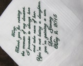 Father in Law of the Groom - Father of the Bride - Personalized Wedding Handkerchief With Free Gift Envelope - Shown with Dark Green Writing