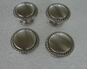 Lot of 4 Satin nickel Plate Pull Knobs-Pulls-Furniture Knobs-Round Knobs Lot no. 685G