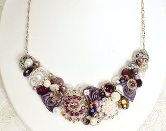 Eggplant Statement Necklace- Deep Purple Bib Necklace- Plum & Ivory Bridal Bib-Amethyst Wedding Necklace-Plum Bridal Bib-Bridal Bib Necklace
