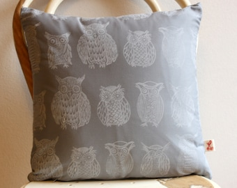 Grey Cape Owl Collection hand block printed decorative scatter cushion cover