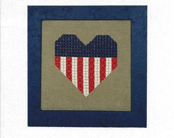 "Clearance - ""American Heart"" Counted Cross Stitch by Liberty Street Designs"