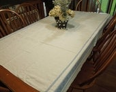 Vintage White and Blue Damask Lunchen Dining Tablecloth with clovers for housewares and home decor, very shabby chic by MarlenesAttic