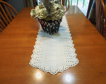 Vintage White Lace Table Runner dresser scarf for crafts, housewares, kitchen, dining, home decor by MarelenesAttic