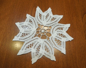 Vintage 5 inch White Doily with battenburg lace for crafts, sewing, housewares, linen, trim, holiday, table by MarlenesAttic