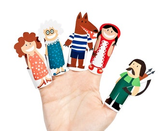 Little Red Riding Hood - Dark Hair - Paper Finger Puppets - PRINTABLE PDF Toy - DIY Craft Kit Paper Toy - Birthday Party Favor