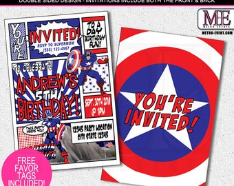 Superhero Invitation, Birthday Invitations, Captain America Invitations