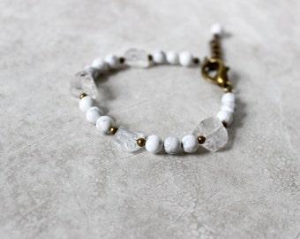 Marble + Crystal Quartz Bracelet, Modern Marble Bracelet, Gemstone Bracelet, Raw Stone Bracelet