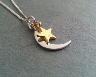 Moon Star Necklace,Silver Crescent Necklace, Gold Star Necklace, Crescent Star Necklace. Mixed Metals Necklace