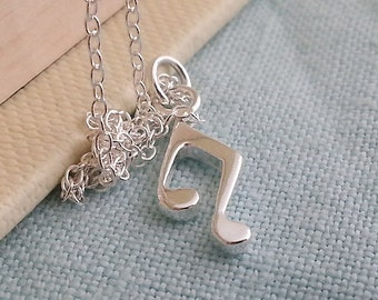 Music Note Necklace. Small Silver Music Note Pendant. Sterling Silver Necklace. Minimal Dainty Layering Necklace. Musician Jewelry