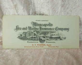 Minneapolis Fire and Marine Insurance Company Advertising Insurance Blotter