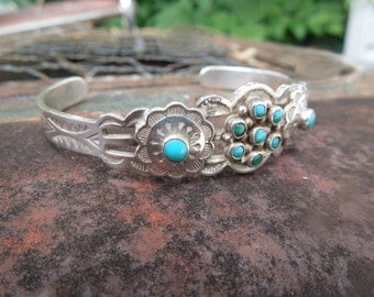 Vintage Maisels Sterling Silver Turquoise  Cuff Bracelet Vintage Fred Harvey Era Native American Indian Journey Storytelling