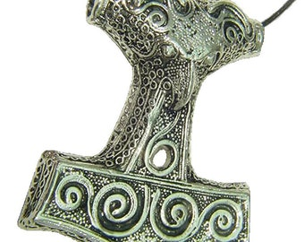 Thor's Hammer Necklace Pewter  Pendant Viking Norse Mjollnir Pagan Wicca 1906B