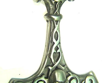 Thor's Hammer Necklace Pewter  Pendant Viking Norse Mjollnir Pagan Wicca 1900B