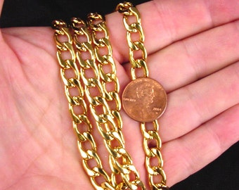 "24"" 18kt gold plated stainless steel 7mm curb chain 6664K"