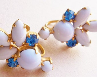 wedding day light blue opaque glass marquis and deep blue round rhinestone vintage gold tone screw back earrings