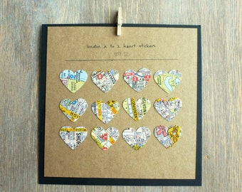 London A to Z Heart Stickers