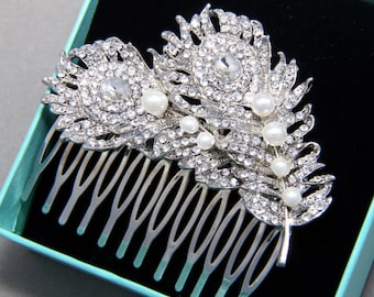 Bridal Hair Comb, Wedding Hair Comb, Double Feather Hair Comb, Crystals Rhinestones Vintage Style Hair Comb,Gold, Silver Hair Comb,Twins
