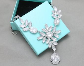 Bridesmaid Necklace, Dangle Sideways, Teardrop Necklace, Birthstone, Dangle Pendant, Crystal Necklace, Rhinestone Necklace