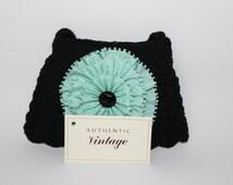 Cammie 1930s-40s mini black crochet handbag, triple mint green silk ribbon, jet glass button, zipper, matching mini coin purse, vintage