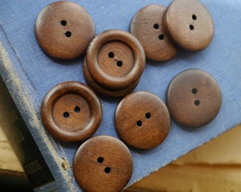 "12 pcs Dark Wood 2 Hole Buttons 25mm 1""  (WB2513)"