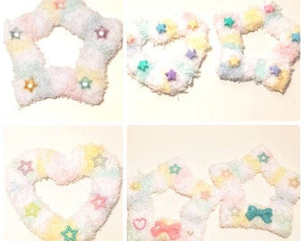 Kawaii Fairy Kei Spank Pop Kei Harajuku Lolita Dolly Cult Party Pastel Goth Rainbow Fuzzy Two Way Clips (Assorted Shapes Available)
