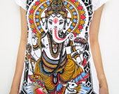 Women tee shirt ganesh om hindou god ganesha mystic spiritual sanskrit india meditation zen peace hippie boho art S