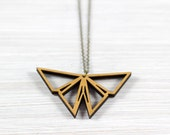Origami Butterfly gold necklace wood