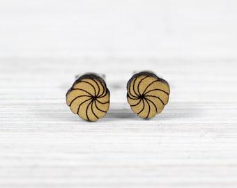 dandelions earrings wood gold