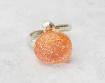 Orange Dichroic Glass Ring Adjustable Ring Sterling Silver Ring Dichroic Jewelry Fused Glass Jewelry